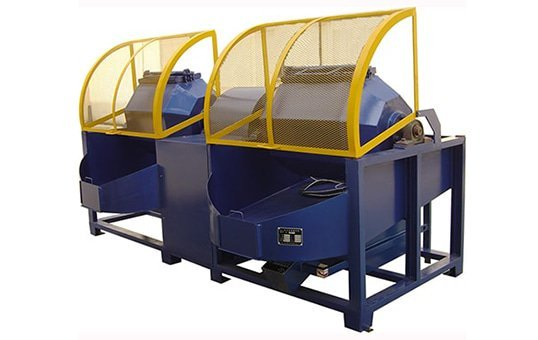 Double barrel rotary tumbling machine