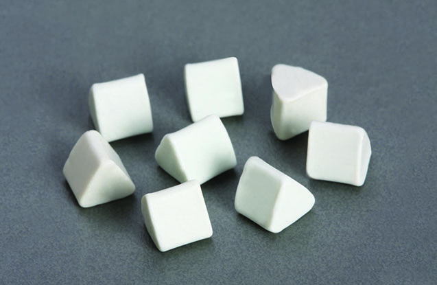 Porcelain tumbling media triangle
