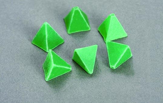 Plastic media pyramid