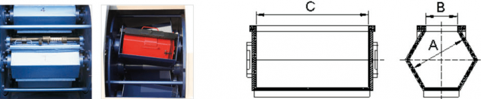 CB Centrifugal barrel finishing machine technical information drawing