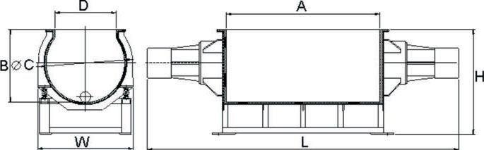TVB(A) tub vibratory finishing machine drawing