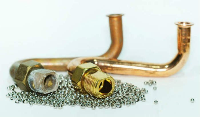 brass parts stainless steel ball burnishing