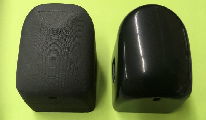 3d printed plastic parts tumble finishing before and after