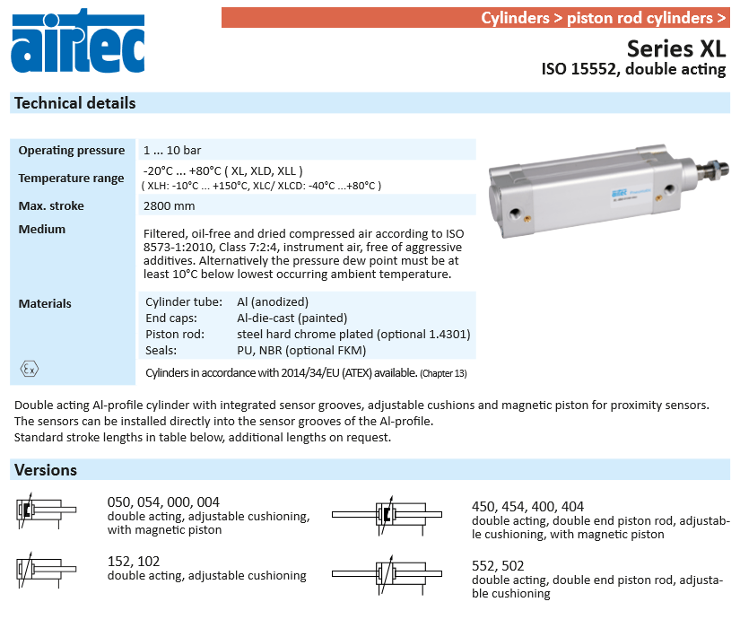pneumatic cylinder techhnical specifications