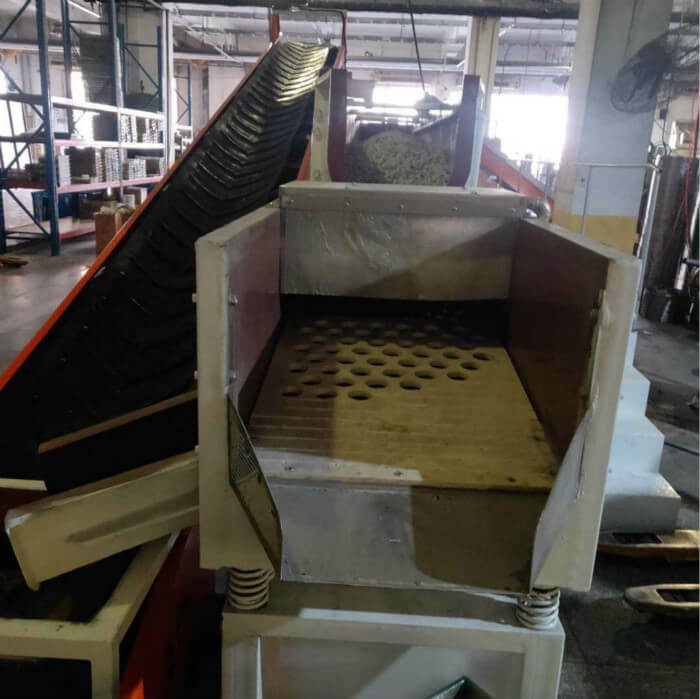 vibratory trough finishing machine flow-thu finishing