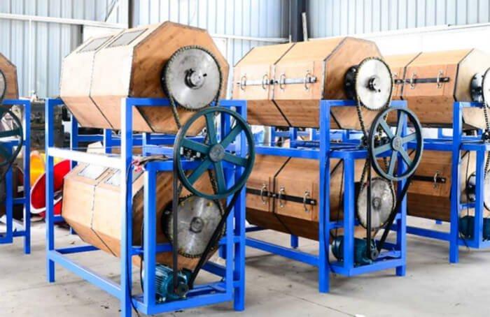 wood rotary barrel tumbling machine workshop