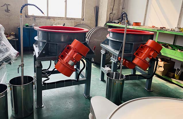 wheel vibratory polishing machine side view